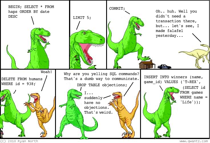 In which T-rex speaks SQL all the time. I am too lazy to type all the dialogue into the alt text, sorry.