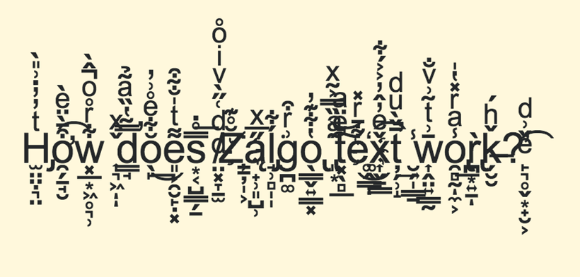Picture of zalgo text, where meaningless diacritical marks make the text almost unreadable