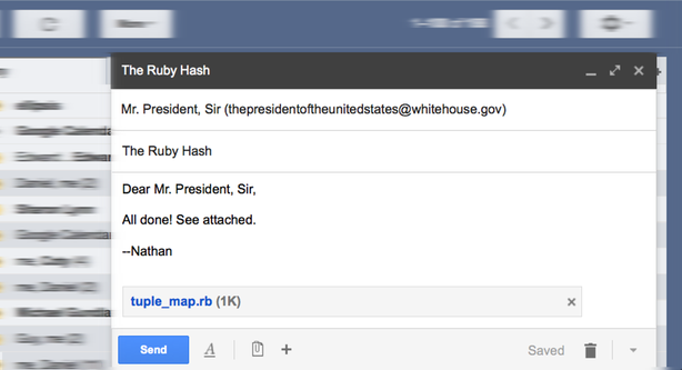 A jaunty email to the president with TupleMap attached